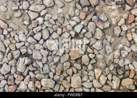 Nahaufnahme nass steinigen Boden in einem Herbst, abstrakten Hintergrund - Stockfoto