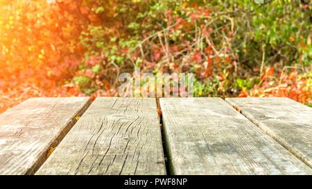 Alten rustikalen Holzmöbeln park Tabelle Vorlage gegen herbstliche Szene - Stockfoto