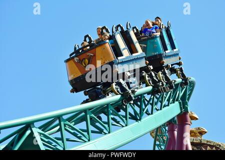 Tampa, Florida; 29. September 2018. Brüder genießen terrific von Cobra Achterbahn in Busch Gardens Freizeitpark. - Stockfoto