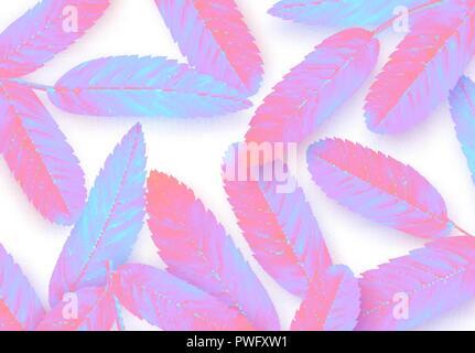 Blätter vector Hintergrund, minimale Surrealismus in der pulsierenden bold Gradient holographische Neonfarben. - Stockfoto