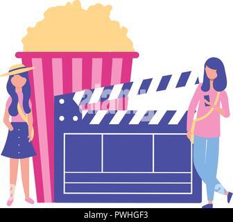 Frau Klappe popcorn Produktion Film Vector Illustration - Stockfoto