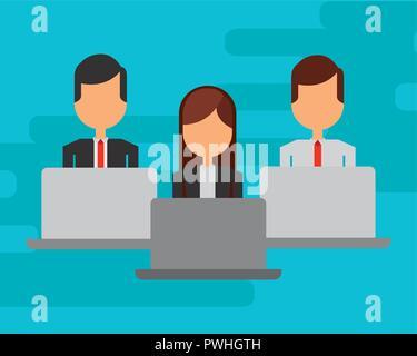 Geschäftsleute mit Laptops Computer avatar Charakter Vector Illustration Design - Stockfoto