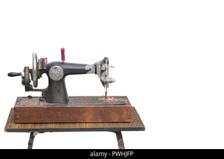 Die alte manuelle Nähmaschine. Die Maschine für Nähte Thread tragen ...