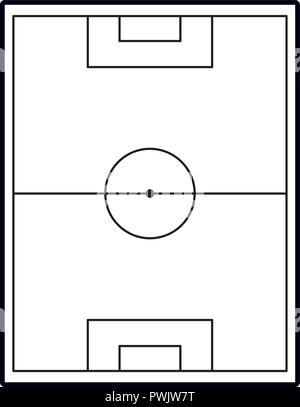 Fussball Feld Topview In Schwarz Und Weiss Vektor Abbildung