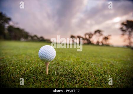 Golf Ball sitzt auf einem T-Stück auf glatten Gras unter einem bewölkten glühenden Himmel. - Stockfoto