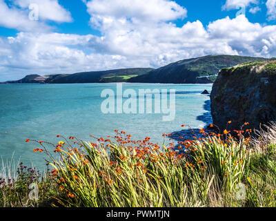Blick von der Küste weg in Richtung tresaith an der walisischen Küste in Ceredigion. - Stockfoto