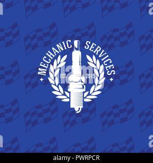 Mechaniker Service Logo auf nahtlose Muster zielflagge, Vector Illustration Vorlage für Ihr Logo Design - Stockfoto