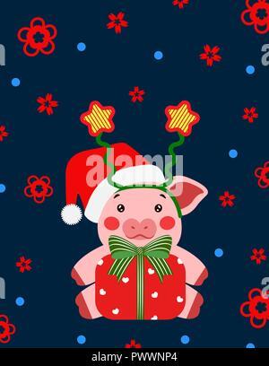 Frohes neues Jahr Nettes Schwein mit Stern und Geschenkbox Postkarte chinesisch. Symbol für das Jahr 2019 vector Illustrtion - Stockfoto