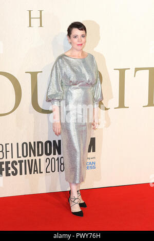 London, Großbritannien. 18. Oktober, 2018. Olivia Colman, der Favorit-UK Premiere, BFI London Film Festival, BFI Southbank, London, UK, 18. Oktober 2018, Foto von Richard Goldschmidt Credit: Rich Gold/Alamy leben Nachrichten - Stockfoto