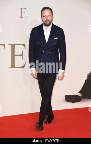 "LONDON, GROSSBRITANNIEN. Oktober 18, 2018: Yorgos Lanthimos an der London Film Festival Screening von ""Favoriten"" im BFI South Bank, London. Bild: Steve Vas/Featureflash Credit: Paul Smith/Alamy leben Nachrichten - Stockfoto"