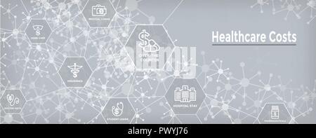Die Kosten im Gesundheitswesen Icon Set und Web Header Banner - Ausgaben übersicht Konzept von teuren Gesundheitswesen - Stockfoto