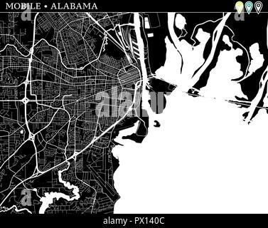 Einfache Karte von Mobile, Alabama, USA. Schwarz und Weiss für Hintergrund. Diese Karte von Mobile enthält drei Markierungen, die gruppiert sind und sich bewegen kann. - Stockfoto