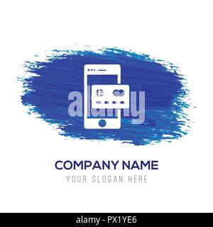 Mobile und Kreditkarte icon-Blau Aquarell Hintergrund - Stockfoto
