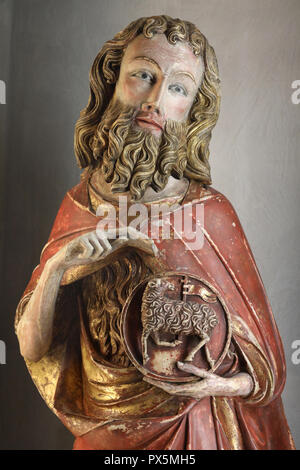MusŽe des Beaux-Arts, Lyon, Frankreich. Museum der Schönen Künste, Lyon, Frankreich. Catalogne. Der hl. Johannes der Täufer, Alabaster, 14. Detail. - Stockfoto