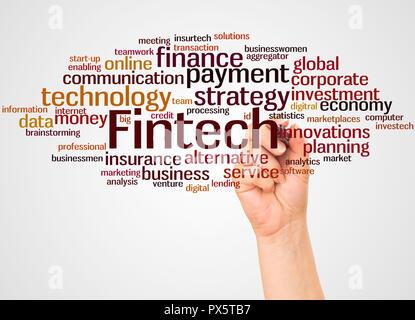 Fintech Wort cloud und Hand mit Marker Konzept auf weißem Hintergrund. - Stockfoto