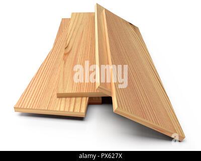 Holzbohlen auf einem weißen Stock. 3D-Rendering - Stockfoto
