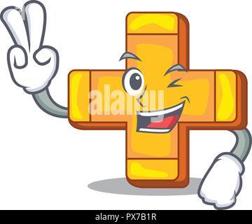 Zwei Finger cartoon Pluszeichen logo Konzept Gesundheit - Stockfoto