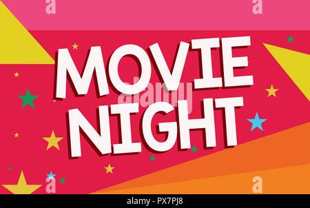 Schreiben Hinweis Übersicht Film Nacht. Business foto Präsentation lockeren informellen reunion Filme zu Hause Freizeit Datum zu beobachten.