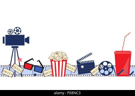 Film Hintergrund mit Kino Attribute. Die nahtlose Vektor Muster - Stockfoto