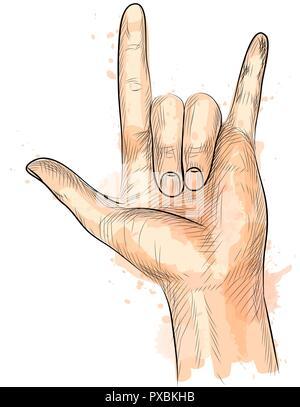 Hand, Rock Geste - Stockfoto