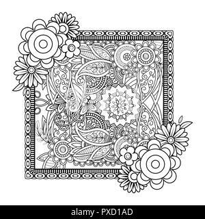 nach f rbung mit blumen muster schwarze und wei e doodle kranz florale mandala blumenstrau. Black Bedroom Furniture Sets. Home Design Ideas
