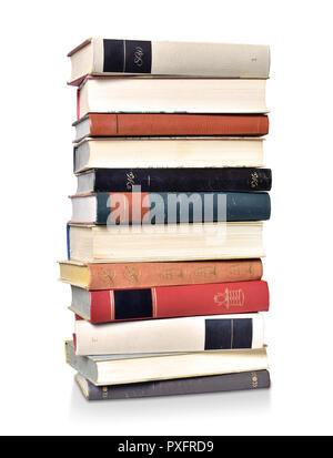 Buchen Sie Stapel lesen Alte klassische School Turm - Stockfoto