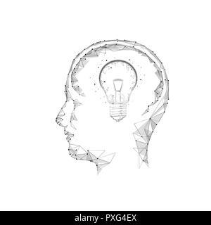 Menschliche Gehirn IQ Smart Business Konzept. E-learning nootropische Droge braingpower ergänzen. Brainstorm kreative Idee Projektarbeit Low Poly polygonalen weiß Vector Illustration Kunst - Stockfoto