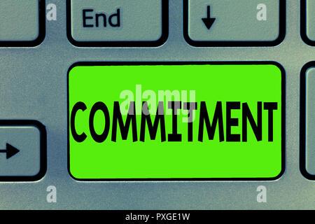 Handschrift Text schreiben Engagement. Begriff Sinne Qualität der eingeweiht wird, um Aktivitäten Engagement führen. - Stockfoto