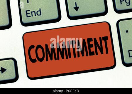 Text Zeichen zeigt Engagement. Konzeptionelle Foto Qualität der eingeweiht wird, um Aktivitäten Engagement führen. - Stockfoto