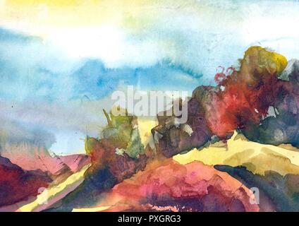 Aquarell Malerei bunte Landschaft. Frühling, Sommer Natur Aquarell Hintergrund