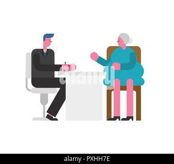 Vorstellungsgespräch Großmutter. Chef und Mitarbeiter alte Dame. Geschäftsmann hören Kandidat Rentner. Beschäftigung Vector Illustration - Stockfoto