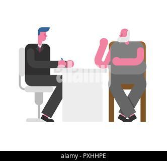 Vorstellungsgespräch Großvater. Chef und Mitarbeiter alter Mann. Geschäftsmann hören Kandidat Rentner. Beschäftigung Vector Illustration - Stockfoto