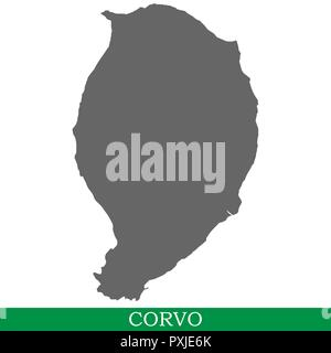 Hohe Qualität Karte von Corvo ist eine Insel in Portugal - Stockfoto