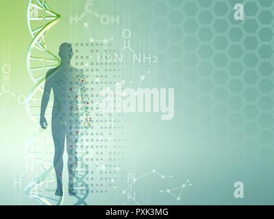 Die genetische Forschung Hintergrund als Vorlage für medizinische themed Präsentationen verwendet werden. Digitale Illustration. - Stockfoto