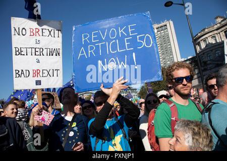 Die Abstimmung März für die Zukunft Am 20. Oktober 2018 in London, Vereinigtes Königreich. Mehr als schätzungsweise 500.000 Menschen auf das Parlament marschierten zu verlangen, ihre demokratische Stimme in ein Wahrzeichen Demonstration gehört zu werden berechnet als die wichtigsten Protest einer Generation. Als Datum des britischen Brexit aus der Europäischen Union, die Demonstranten in ihren Zehntausende versammelt, um die politischen Führer zur Kenntnis nehmen und die britische Öffentlichkeit eine Abstimmung über die endgültige Brexit Angebot zu geben. Stockfoto