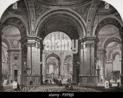 Innere der St. Paul's Cathedral nach Osten, wie wäre es nach dem ersten Wren's Design. Von London Bilder, veröffentlicht 1890. - Stockfoto