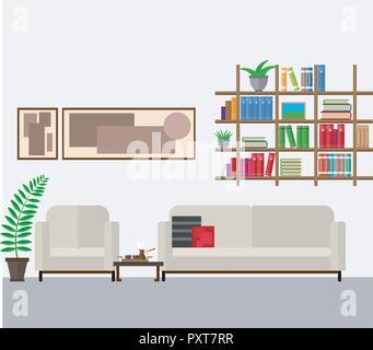Wohnzimmer in einem modernen Stil und in hellen Farben eingerichtet. Vector Illustration Satz home Möbel, Regale und Zimmerpflanzen. - Stockfoto