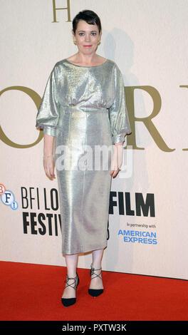 Foto © gutgeschrieben werden Alpha Presse 078237 18/10/2018 Olivia Colman der Favorit Galavorstellung während 62 LFF BFI London Film Festival 2018 in London - Stockfoto