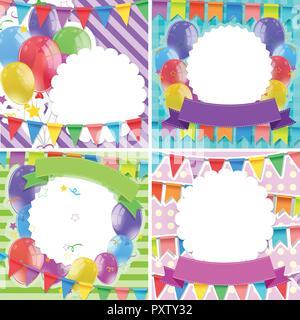 Banner Vorlage Mit Luftballons Und Fähnchen Abbildung Vektor