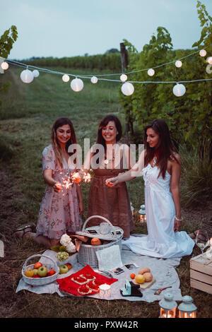 Freunde bei einem Picknick in einem Vinyard, brennende Wunderkerzen - Stockfoto