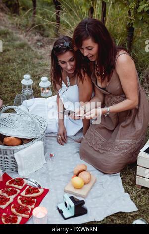 Freunde bei einem Picknick in einem Weinberg Fotos suchen - Stockfoto