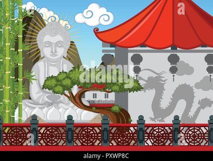 Buddha Figur in der chinesischen Tempel Abbildung - Stockfoto