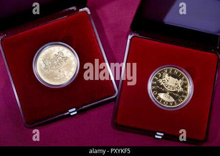 Münzen Der Tschechischen Republik Böhmischen Heraldischen Löwen In