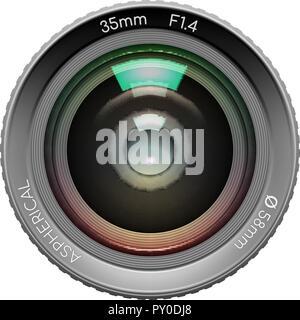 Sehr detaillierte Video- oder Fotokamera Objektiv 35 mm gibts Nahaufnahme Bild auf weißem Hintergrund. Vector Illustration - Stockfoto
