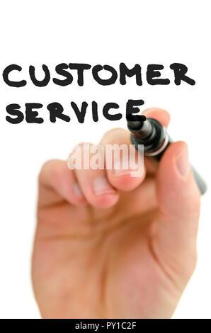 Detail der männlichen Hand schreiben Phrase Kunden Service auf einem virtuellen Bildschirm. Über weißen Hintergrund. - Stockfoto