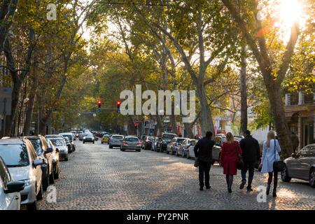 Menschen zu Fuß entlang der gepflasterten Straße mit Bäume im Herbst in Plovdiv, Bulgarien - Stockfoto
