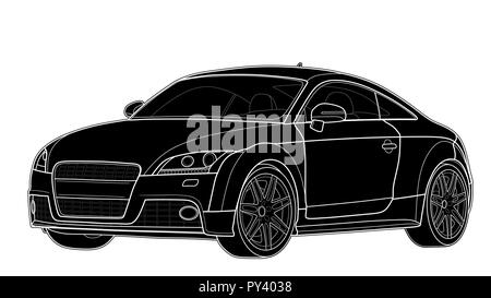 Vektor zeichnen eines flachen Sport Auto mit schwarzen Linien. - Stockfoto