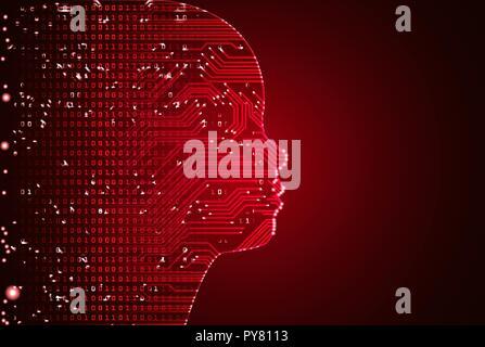 Große Daten- und künstliche Intelligenz Kind Gesicht Konzept. - Stockfoto