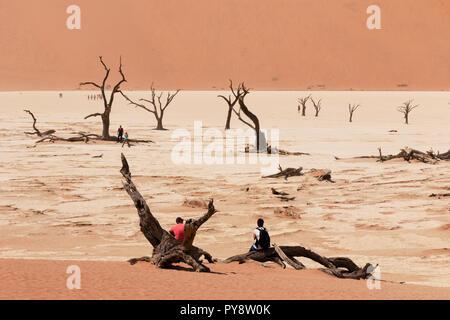 Deadvlei Namibia - Touristen, Sanddünen und tote Bäume in der Namib Wüste im Deadvlei, Sossusvlei, Namib, Namibia Afrika - Stockfoto