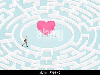 Mann Erfolg auf der Suche nach Freundin in kreisförmigen Labyrinth Labyrinth des Herzens. Vector Illustration für Liebe, Beziehung, zum Valentinstag Konzept. - Stockfoto